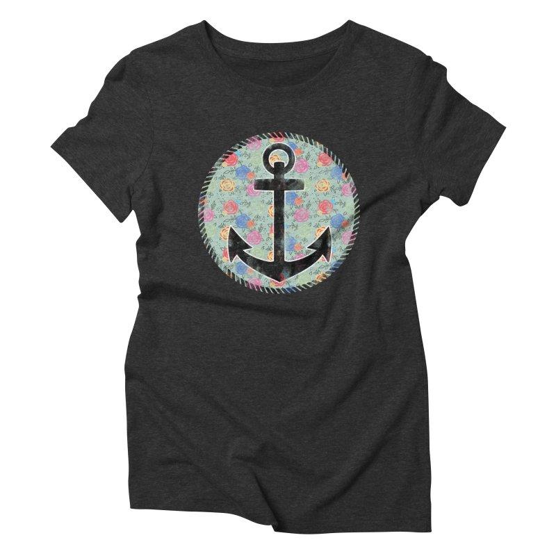 Anchor on Flowers Women's Triblend T-Shirt by Pinup Bombshells Artist Shop