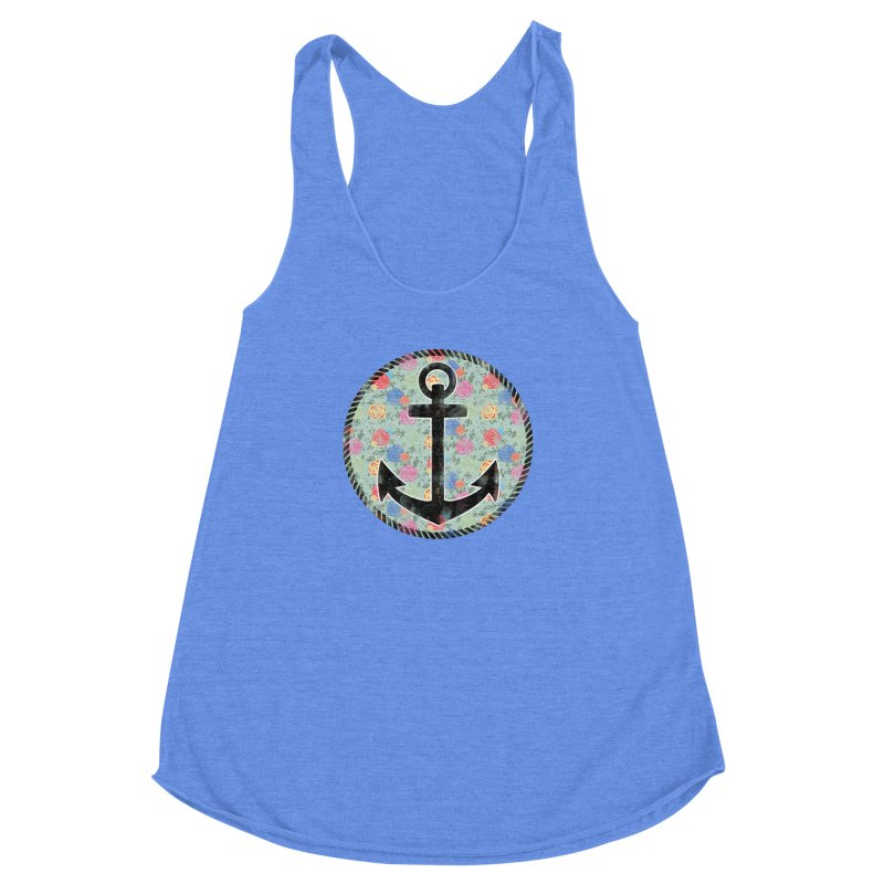 Anchor on Flowers Women's Racerback Triblend Tank by Pinup Bombshells Artist Shop