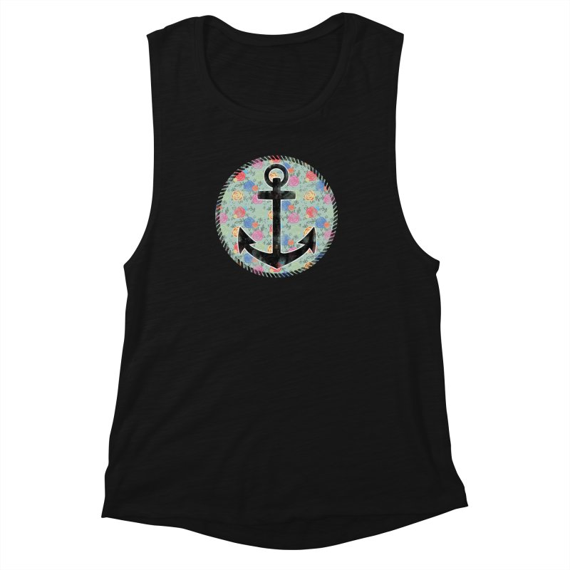 Anchor on Flowers Women's Muscle Tank by Pinup Bombshells Artist Shop