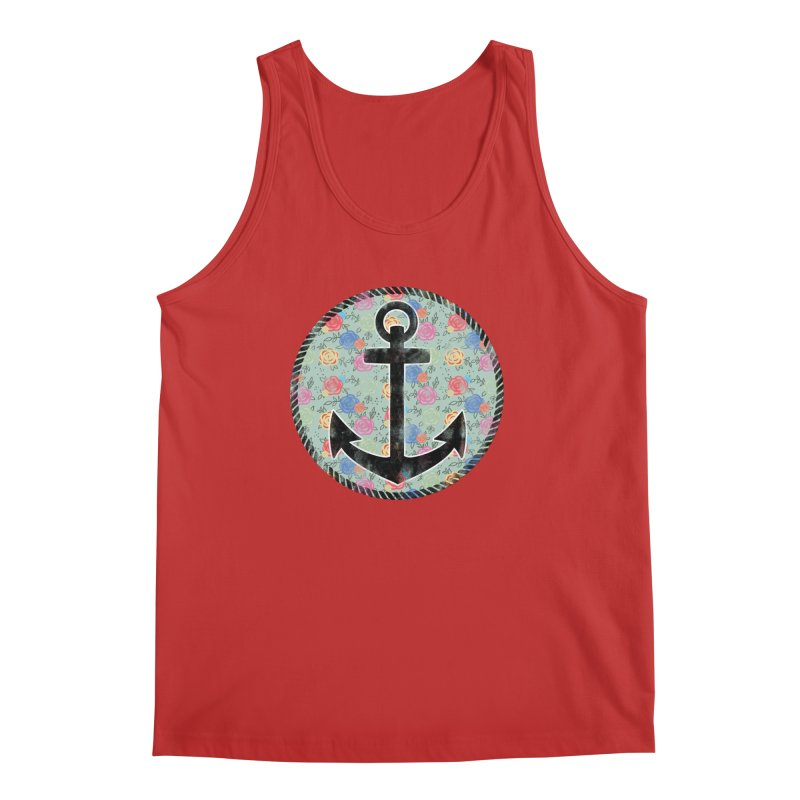 Anchor on Flowers Men's Tank by Pinup Bombshells Artist Shop