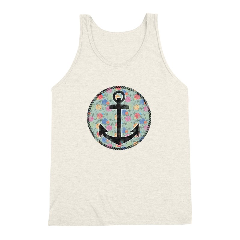 Anchor on Flowers Men's Triblend Tank by Pinup Bombshells Artist Shop