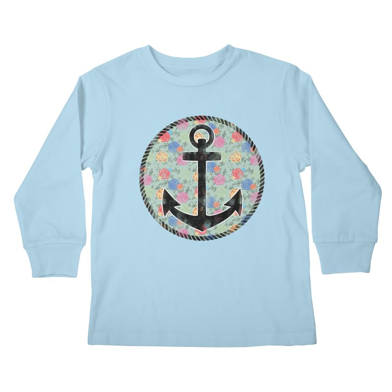Anchor on Flowers Kids Longsleeve T-Shirt by Pinup Bombshells Artist Shop