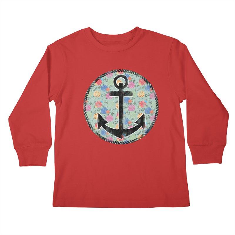 Anchor on Flowers Kids Longsleeve T-Shirt by Pinup Bombshells Artist Shop