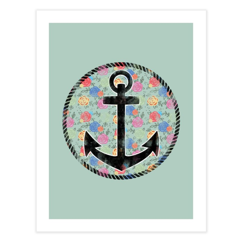 Anchor on Flowers Home Fine Art Print by Pinup Bombshells Artist Shop