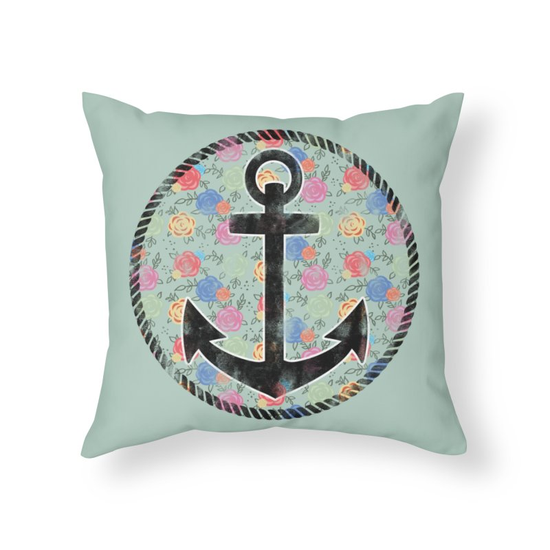 Anchor on Flowers Home Throw Pillow by Pinup Bombshells Artist Shop