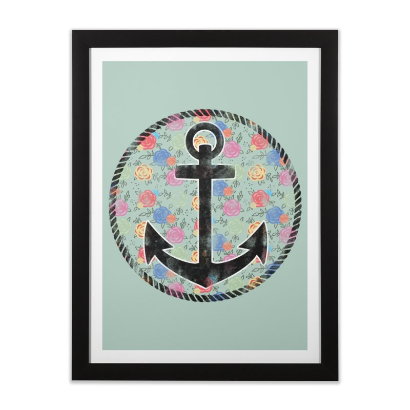Anchor on Flowers Home Framed Fine Art Print by Pinup Bombshells Artist Shop