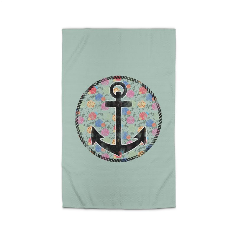 Anchor on Flowers Home Rug by Pinup Bombshells Artist Shop