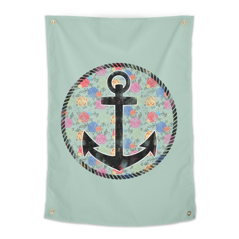 Anchor on Flowers Home Tapestry by Pinup Bombshells Artist Shop