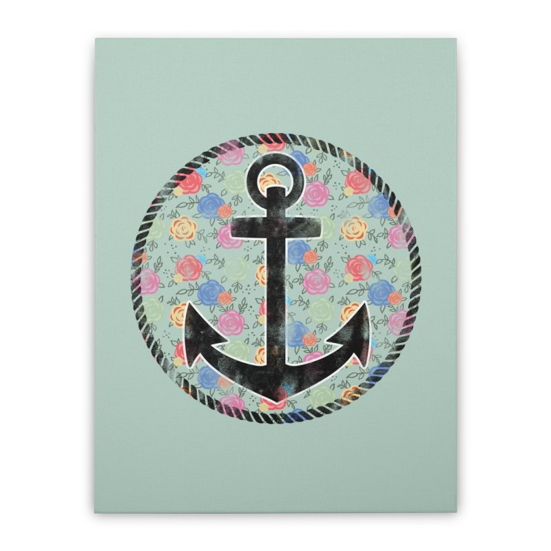 Anchor on Flowers Home Stretched Canvas by Pinup Bombshells Artist Shop