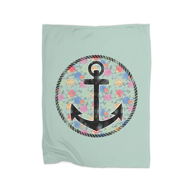 Anchor on Flowers Home Blanket by Pinup Bombshells Artist Shop