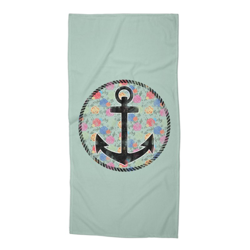 Anchor on Flowers Accessories Beach Towel by Pinup Bombshells Artist Shop