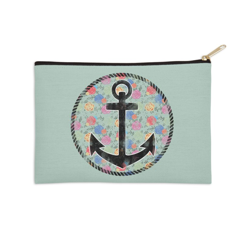 Anchor on Flowers Accessories Zip Pouch by Pinup Bombshells Artist Shop