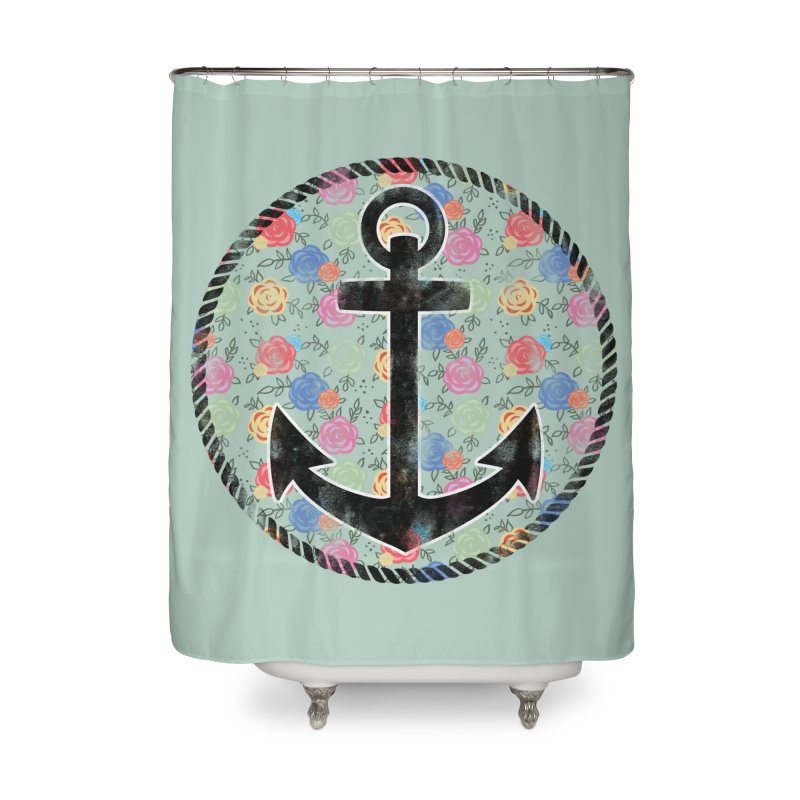 Anchor on Flowers Home Shower Curtain by Pinup Bombshells Artist Shop