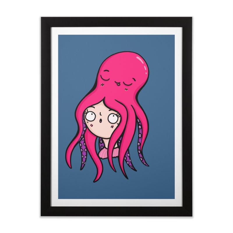 Octopus Surprise Home Framed Fine Art Print by Piratart Illustration
