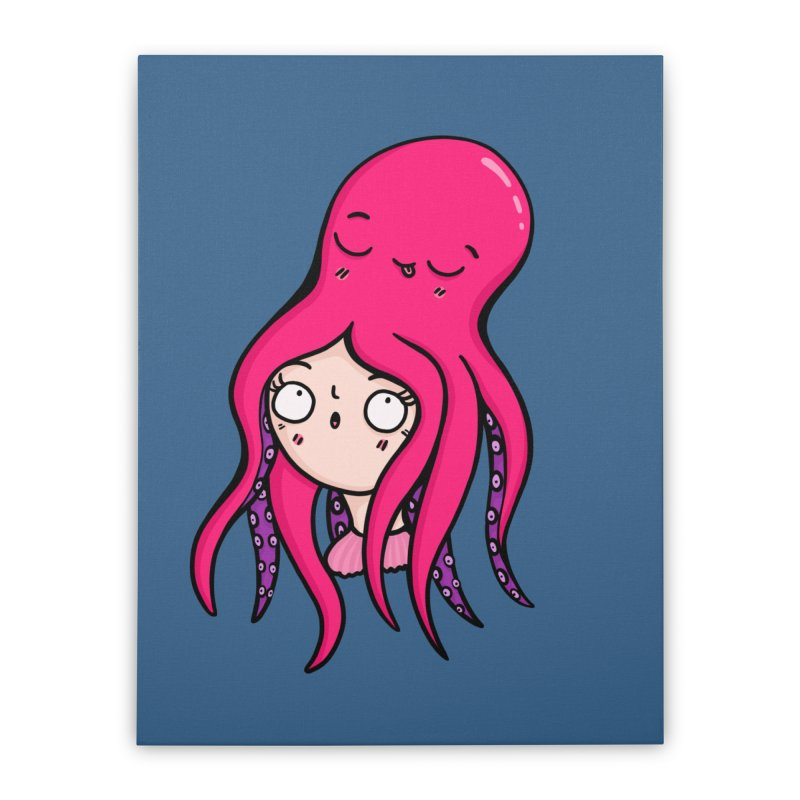 Octopus Surprise Home Stretched Canvas by Piratart Illustration