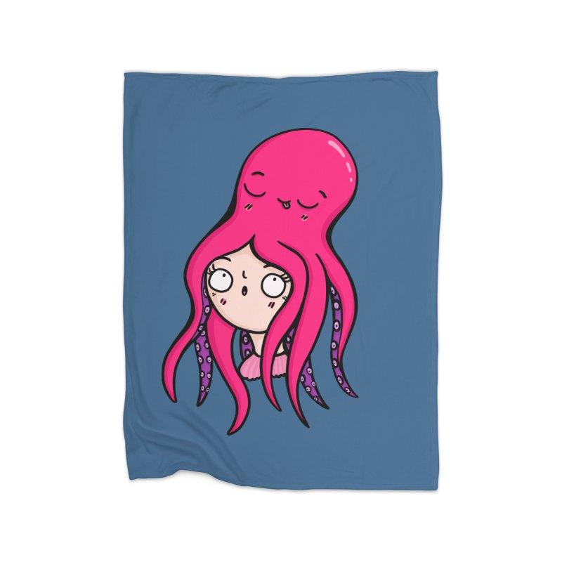Octopus Surprise Home Blanket by Piratart Illustration