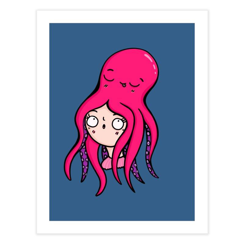 Octopus Surprise Home Fine Art Print by Piratart Illustration