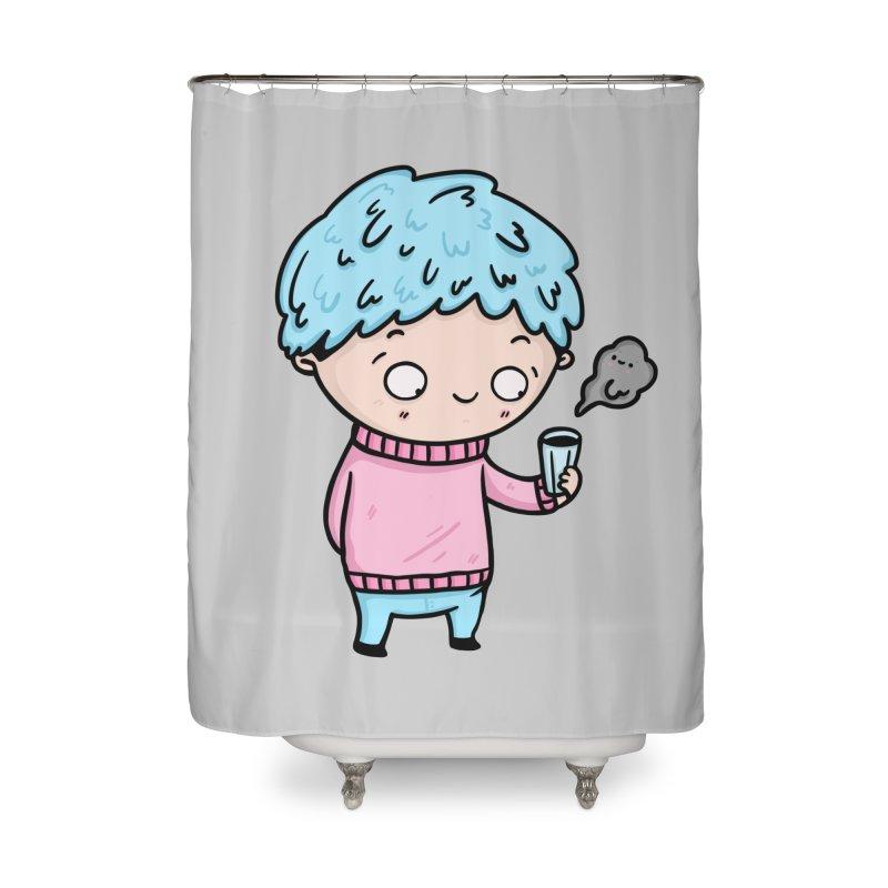 Tea Boy Home Shower Curtain by Piratart Illustration