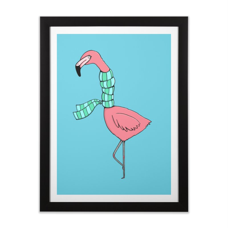 Flamingo Flu Home Framed Fine Art Print by Piratart Illustration