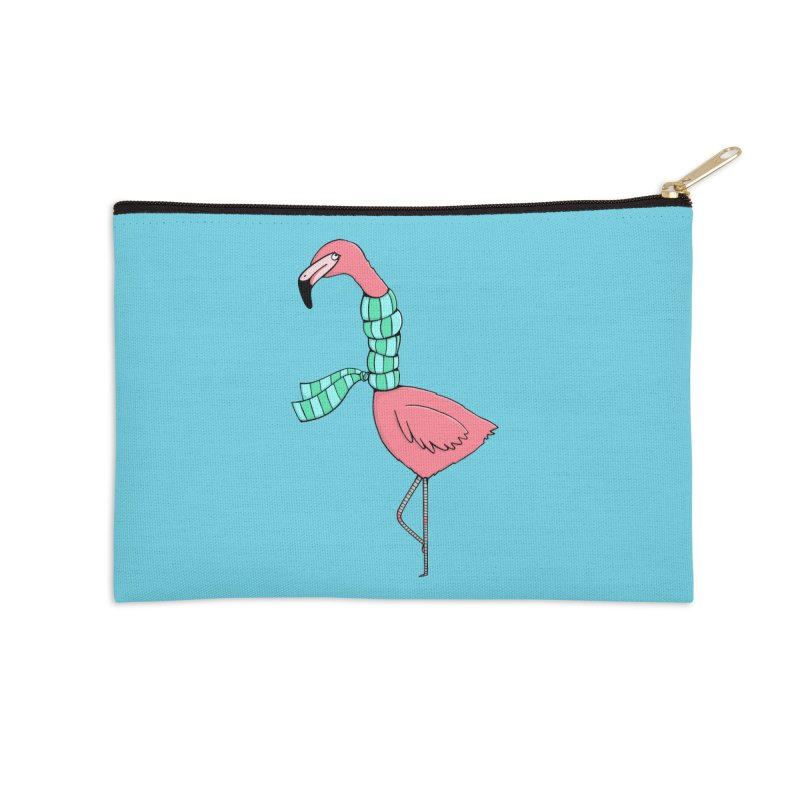 Flamingo Flu Accessories Zip Pouch by Piratart Illustration