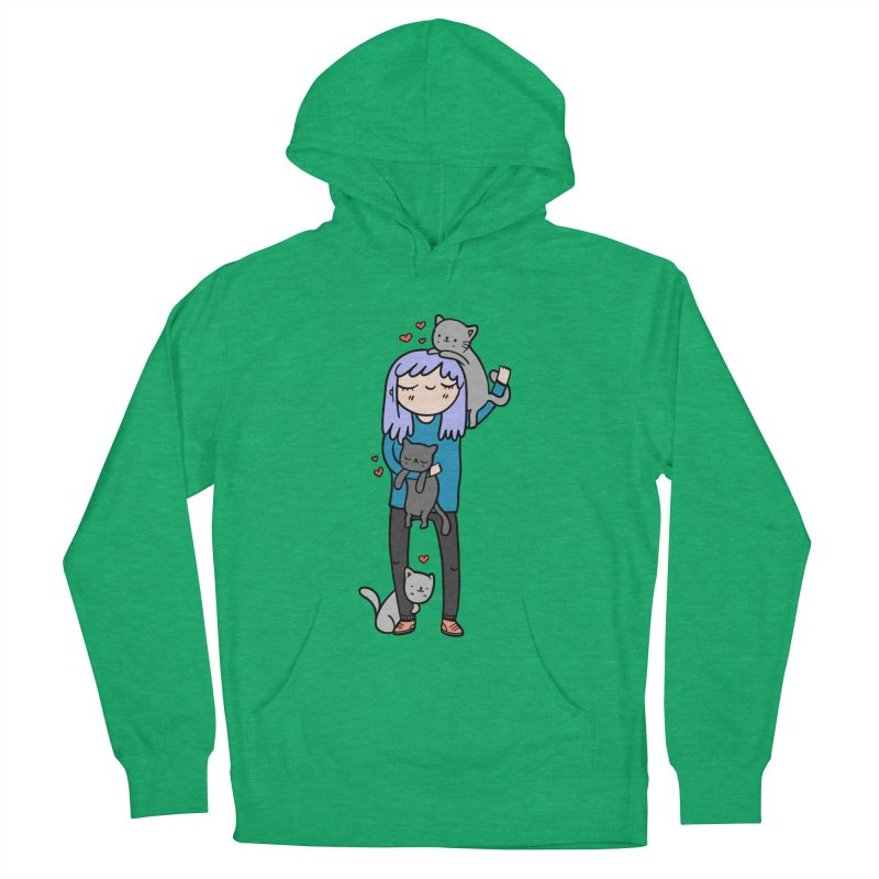 Catlady Women's French Terry Pullover Hoody by Piratart Illustration