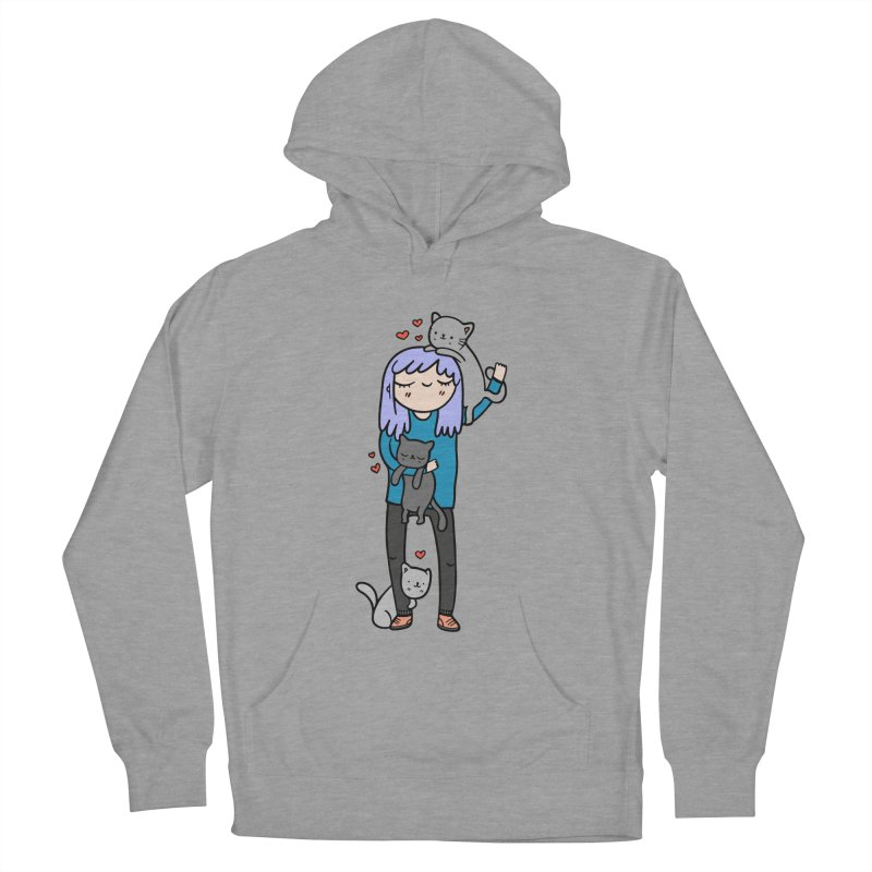 Catlady Men's French Terry Pullover Hoody by Piratart Illustration
