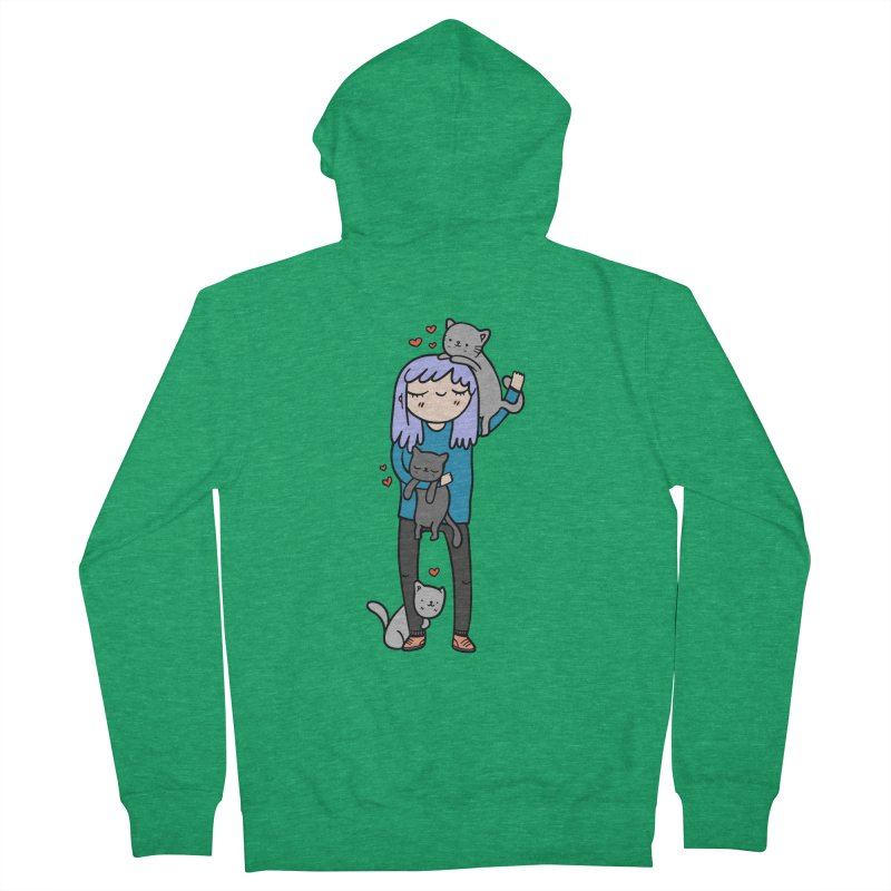 Catlady Women's Zip-Up Hoody by Piratart Illustration
