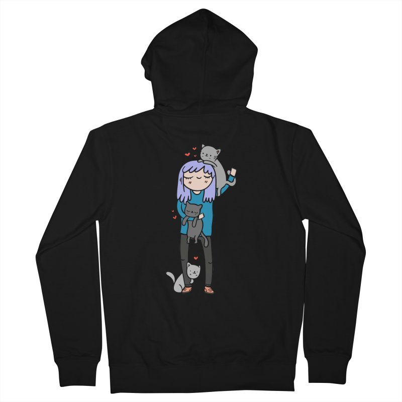 Catlady Women's French Terry Zip-Up Hoody by Piratart Illustration