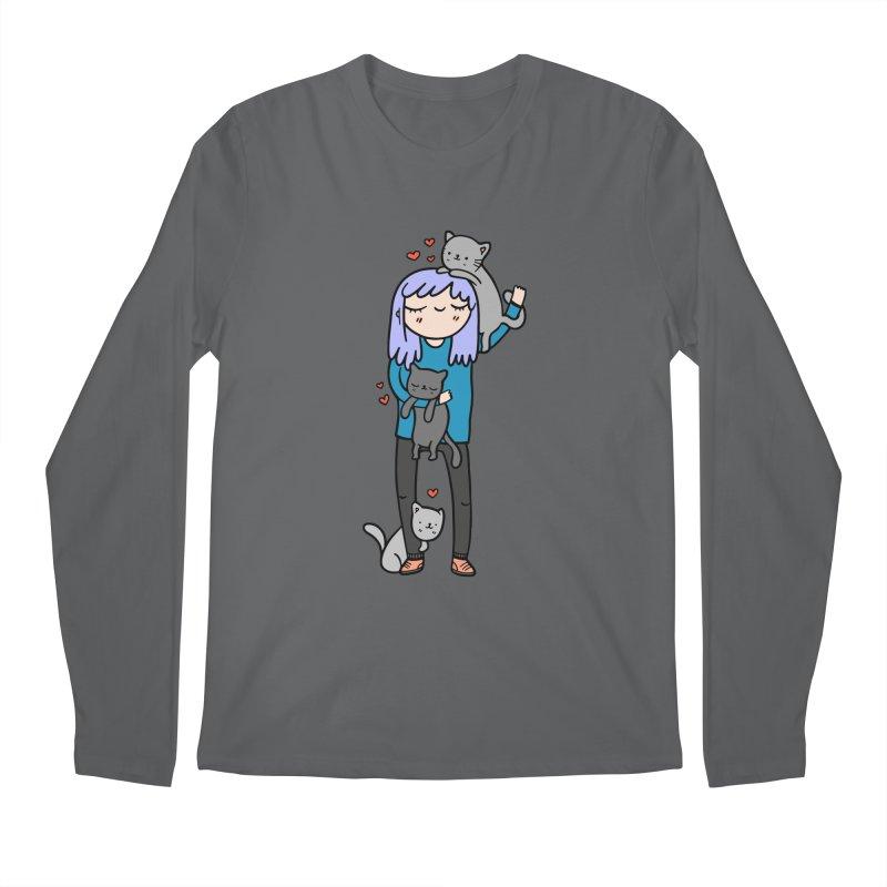 Catlady Men's Longsleeve T-Shirt by Piratart Illustration