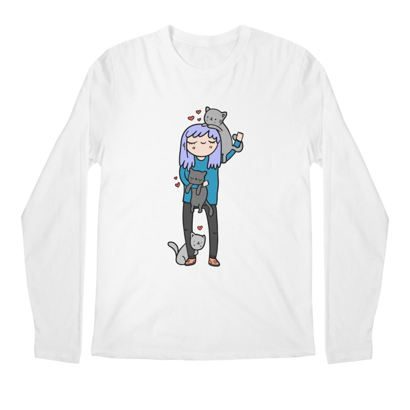 Catlady Men's Longsleeve T-Shirt by Piratart Illustration