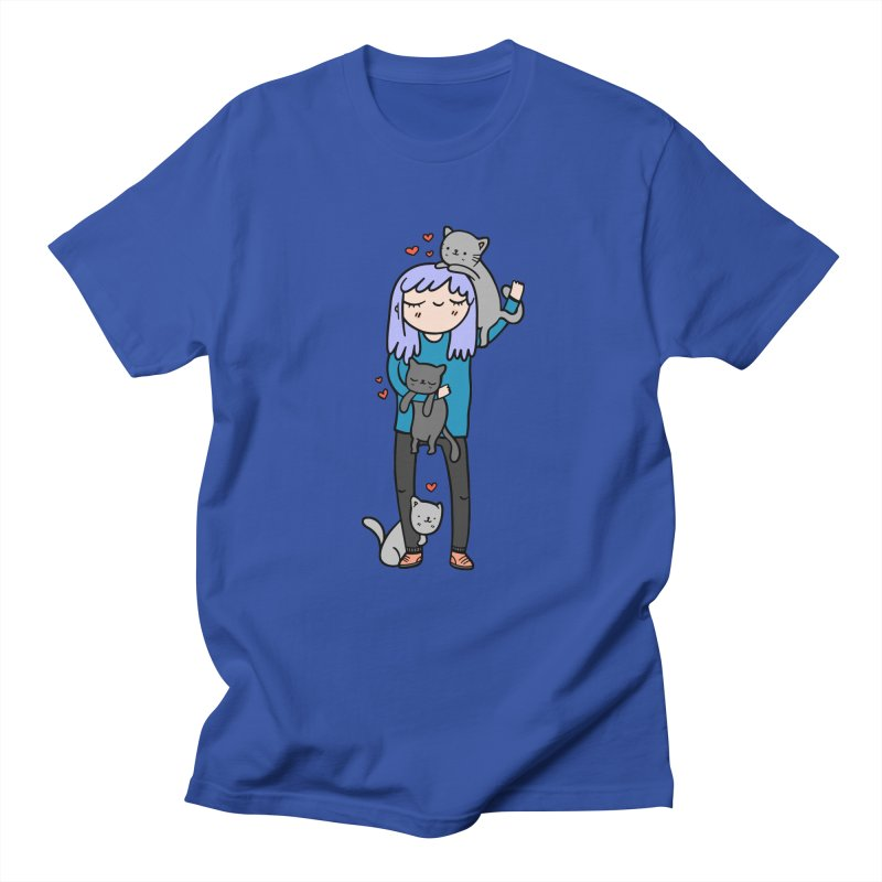 Catlady Men's Regular T-Shirt by Piratart Illustration