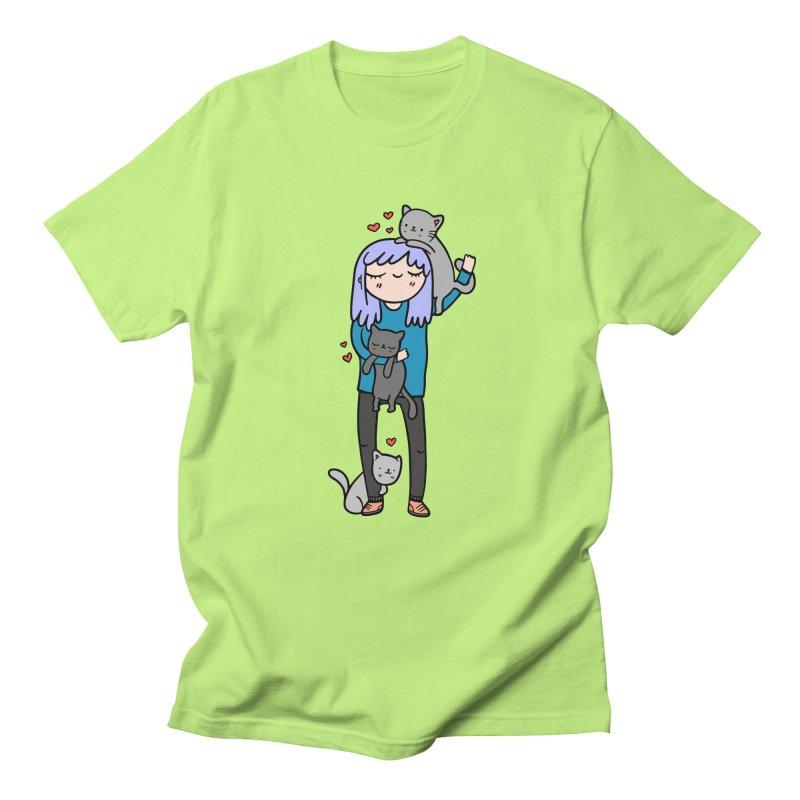 Catlady Men's Regular T-Shirt by Piratart Illustration