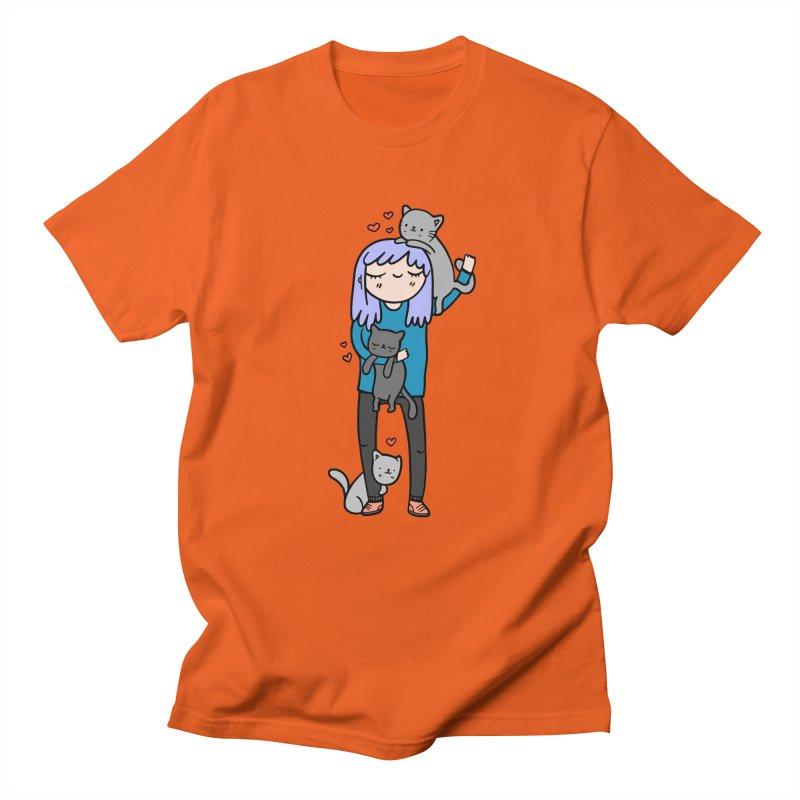 Catlady Women's Regular Unisex T-Shirt by Piratart Illustration