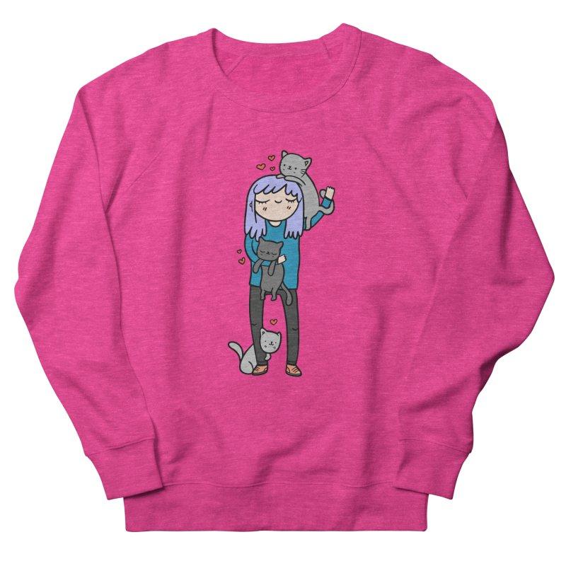 Catlady Women's French Terry Sweatshirt by Piratart Illustration