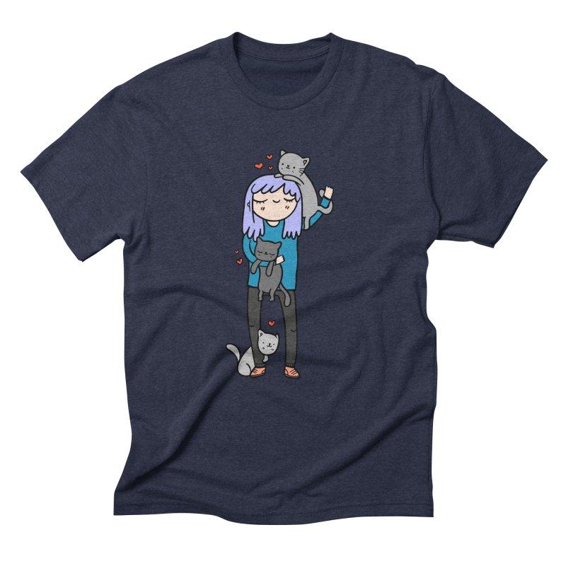 Catlady Men's Triblend T-shirt by Piratart Illustration