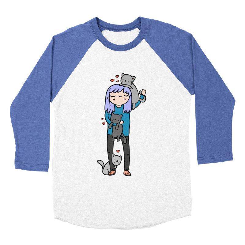 Catlady Women's Baseball Triblend Longsleeve T-Shirt by Piratart Illustration
