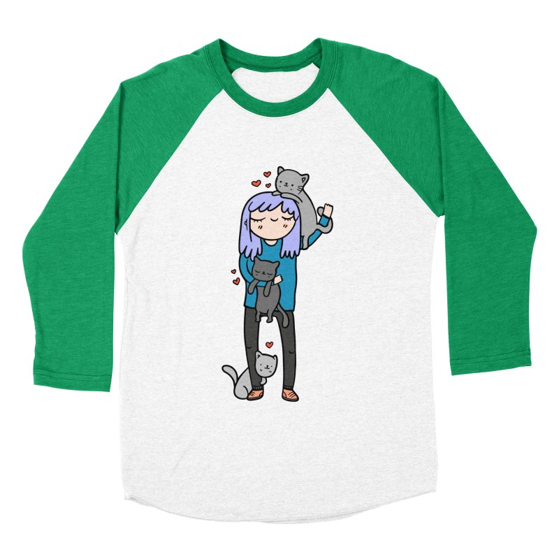 Catlady Women's Baseball Triblend Longsleeve T-Shirt by Piratart Illustration
