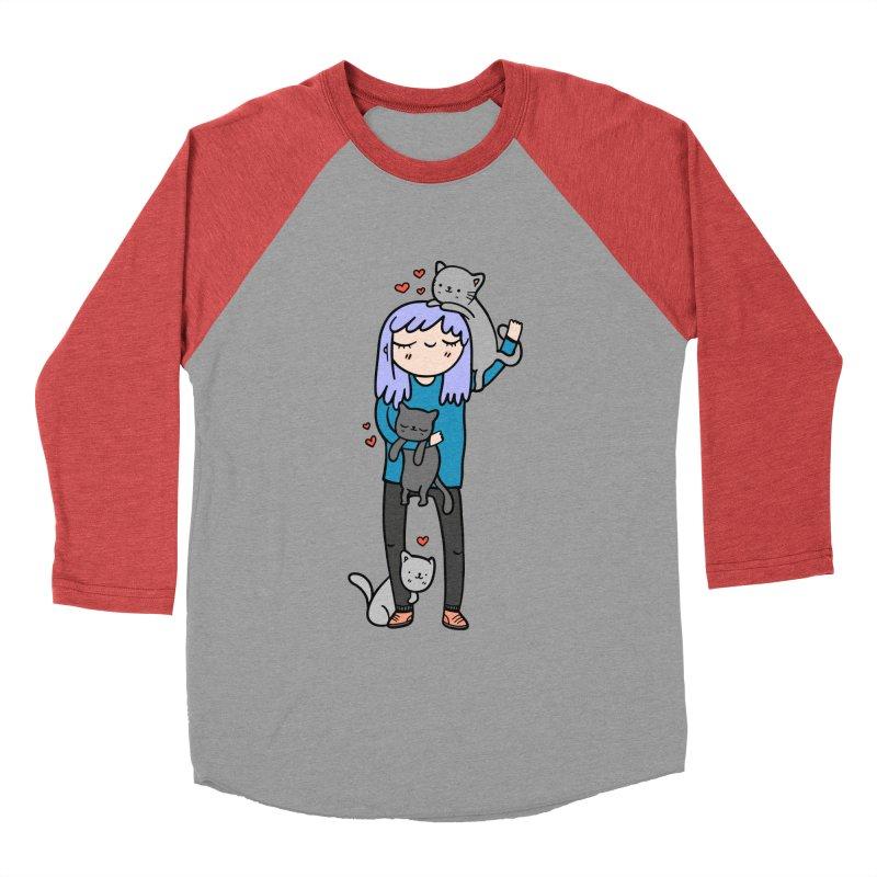 Catlady Men's Baseball Triblend Longsleeve T-Shirt by Piratart Illustration