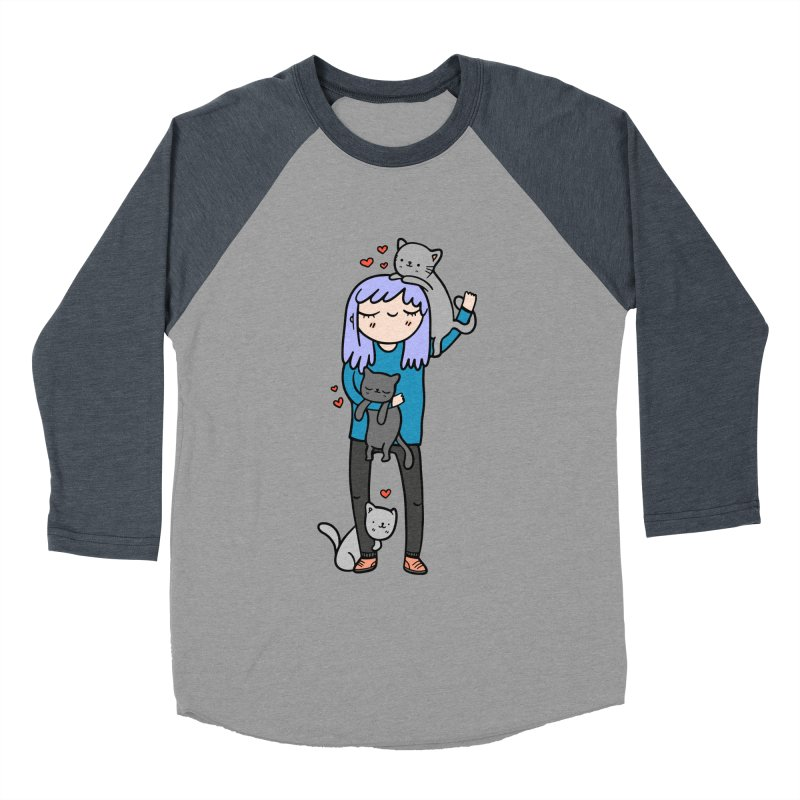 Catlady Men's Baseball Triblend T-Shirt by Piratart Illustration