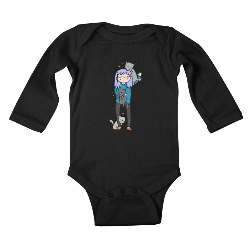 Catlady Kids Baby Longsleeve Bodysuit by Piratart Illustration