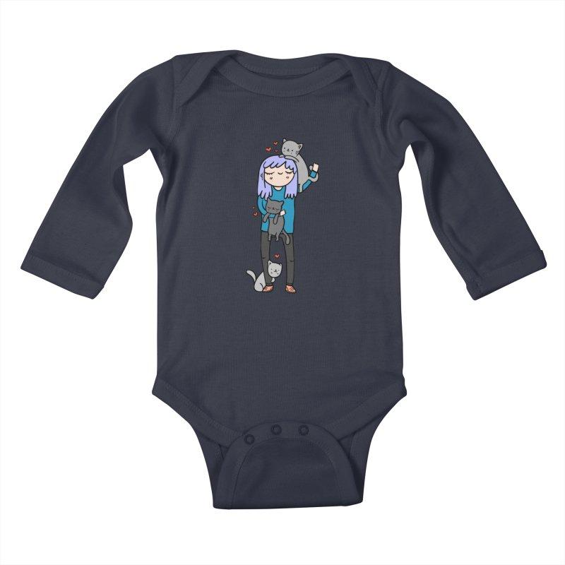 Catlady Kids Baby Longsleeve Bodysuit by Piratart Illustration