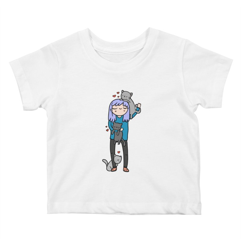 Catlady Kids Baby T-Shirt by Piratart Illustration
