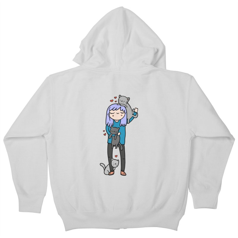 Catlady Kids Zip-Up Hoody by Piratart Illustration