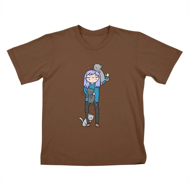 Catlady Kids T-Shirt by Piratart Illustration