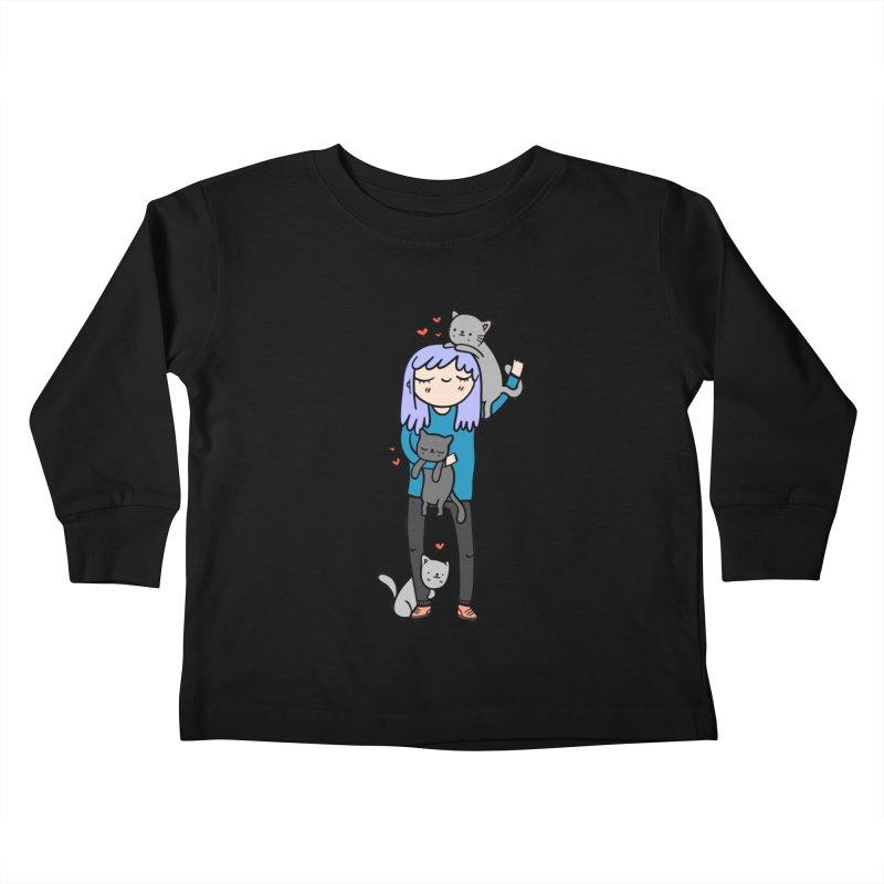 Catlady Kids Toddler Longsleeve T-Shirt by Piratart Illustration