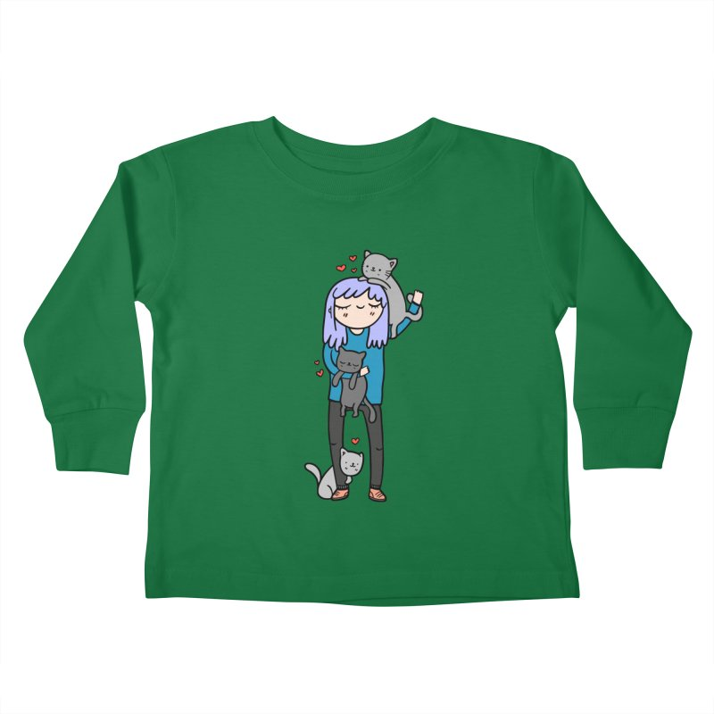 Catlady Kids Toddler Longsleeve T-Shirt by Piratart Illustration
