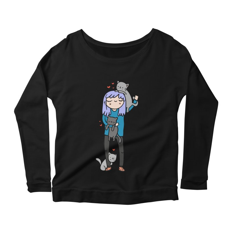 Catlady Women's Scoop Neck Longsleeve T-Shirt by Piratart Illustration