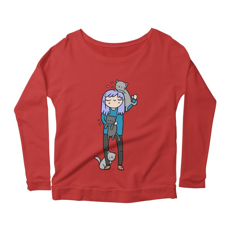 Catlady Women's Longsleeve Scoopneck  by Piratart Illustration