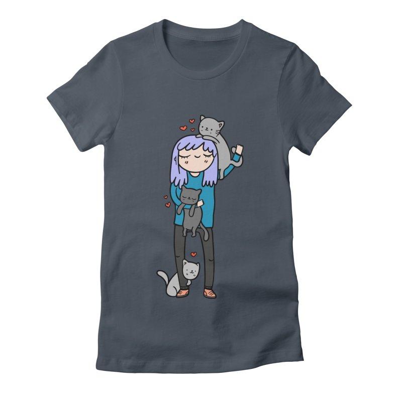 Catlady Women's T-Shirt by Piratart Illustration