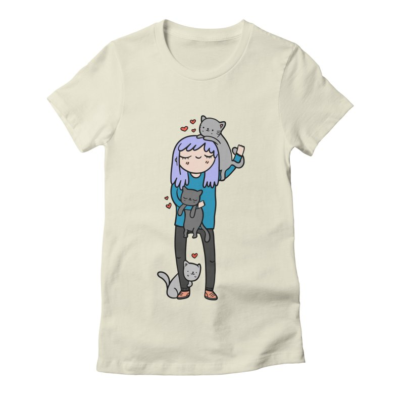 Catlady Women's Fitted T-Shirt by Piratart Illustration